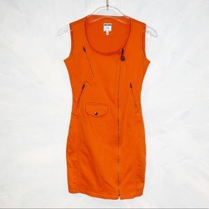 Amazing VINTAGE 90s  MOSCHINO Orange Zipper Dress